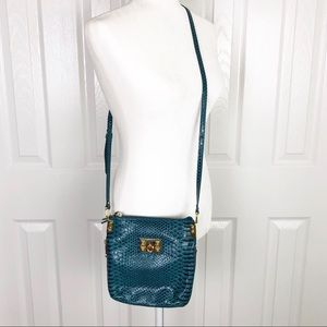 Gianni Bini patent teal snakeprint crossbody bag